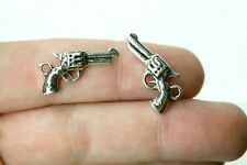 10 Silver Gun Charms Double Sided Pistol Pendant 21 x 11 mm -  344