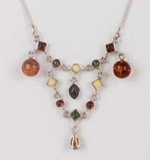 STERLING SILVER CREAM, AMBER STONE & GREEN STONES NECKLACE 925 FINE 4106