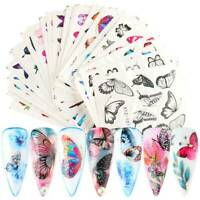 30pcs Butterfly Nail Stickers Blue Black Water Transfer Decal Nail Art Decor AU