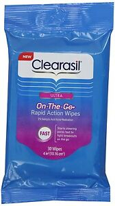10 packs Clearasil On the go Rapid Action Wipes Cleans Pores Prevents spots new