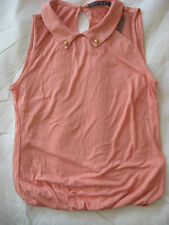 NEW WOMEN'S CLOTHES SLEEVELESS TOP T SHIRT PEACH PRETTY EUR 36 UK SIZE 8