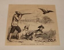 1880 magazine engraving ~ HUNTING A FIELDFARE