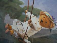 Vtg Teddy Bear Postcard Goldie on swing Real Photo VGC Unused Bialosky New York