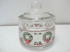 Vintage Indiana Glass Christmas Candy Dish Green Holly Leaves & Red Berries