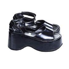 Vtg 90s Black SHINY Club-Kid Cyber Goth PLATFORMS Minimalist Sandals Shoes 5