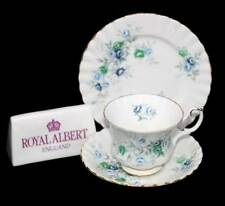 Vintage Royal Albert Inspiration blue & white roses teacup trio