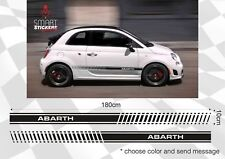 FREE Postage 2 x Black Bands Stickers Fiat Abarth 500 car BODY DOOR decal vinyl