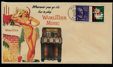 1950 Wurlitzer Juke Box Ad Featured on Xmas Collector's Envelope *XS127