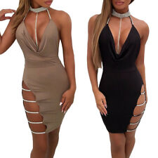 Fashion Women Diamond Halter Deep V Neck Backless Dress Side Hollow Out Clubwear