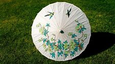 Paper Parasol. Paper Umbrella. Green Daisies. Blue and Yellow Birds.