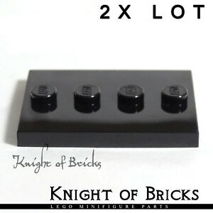 LEGO 2x Lot Minifigure BLACK Tile Plate 3x4 Tiles Base Stand Collection Series