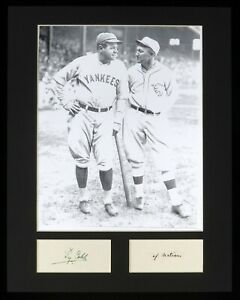 """Ty Cobb Babe Ruth 11x14 Matted Display Photo Written Signed """"of nations"""" JSA"""