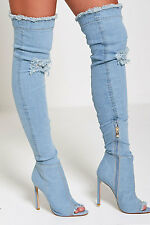 DIVADAMES Womens  Thigh High Heels Over The Knee Ripped Denim Heels Boots