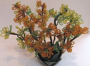 Vintage Lot 8 Glass Bead Flowers Stems Leaves Orange Yellow Green