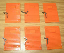 LIONEL AMERICAN FLYER PARTS: BOXCAR LATCH DOORS S GAUGE TRAIN LOT of 6 ORANGE