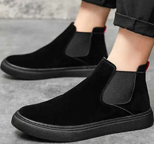 Mens Suede Shoes Slip-on Ankle Boots Flat Pumps Casual Boots Chelsea High Top 44