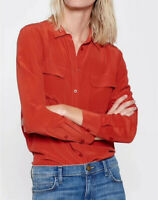 New Arrived Red Equipment Slim Signature 100% Silk Casual Shirt Two Pocket Tops