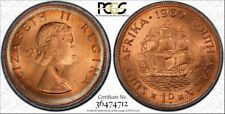 1960 SOUTH AFRICA ONE PENNY BU PCGS MS65RD CIRCLE COLOR TONED FOUR GRADED HIGHER