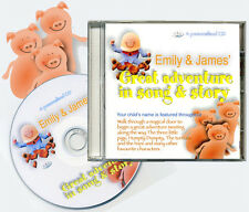 Great Adventure in Song & Story.  Personalised Children's Kids CD  ANY 2 NAMES