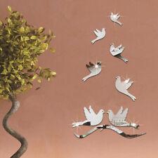 Flower Pigeon Bird Mirror Effect Wall Art Sticker Bathroom Home Decor YU