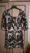 TSEGA Ladies Stretch Bodycon Evening Dress Black & Grey Roses size 10 indie rock