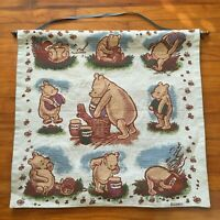 Vintage Winnie The Pooh Classics Honey Tapestry Disney Wooden Rod Hanging RARE