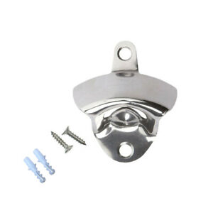 Stainless Steel silver Wall Mount Beer Soda Bottle Open with Mounting Screws