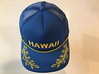 Vintage Hawaii Snapback Trucker Hat Cap Blue Gold Laurel Leaf Brim Rope 1980's
