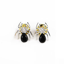Vintage Spider Brooches Silver Plated Black Crystal Rhinestone Collar Pin
