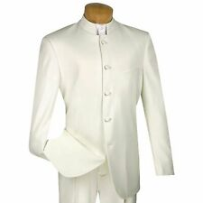 VINCI Men's Ivory Banded Collar 5 Button Classic Fit Tuxedo Suit NEW