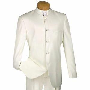 VINCI Men's Ivory Banded Collar 5 Button Classic Fit Tuxedo Suit NEW