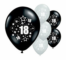 """10 x 18TH BIRTHDAY BLACK AND SILVER 12"""" HELIUM OR AIRFILL BALLOONS (PA)"""