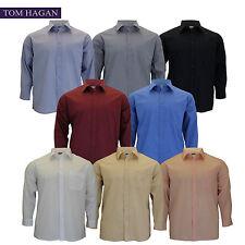 Mens Big King Size Plain Tom Hagan Smart Formal Long Sleeve Shirt 3XL 4XL 5XL