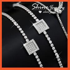 18K WHITE GOLD GF VINTAGE SQUARE DIAMOND LAB WOMENS TENNIS BANGLE BRACELET GIFT