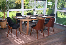 6x chaise de salle à manger Osijek, aspect noix, bois cintré ~ similicuir, noir