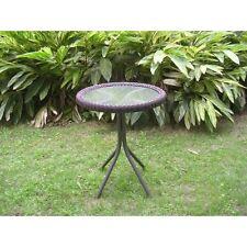 International Caravan Outdoor Resin Wicker and Glass-top Bistro Table, Pecan