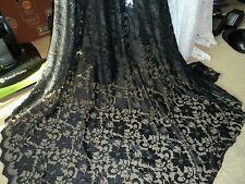"3 MTR BLACK SCALLOPED EDGE LACE NET DRESS  FABRIC 54"" WIDE"