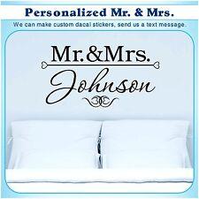 Personalized custom Mr & Mrs Married Art Wall Vinyl Decor Sticker Decal s082