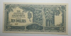 1944 Japanese Invasion Money for Malaya & Borneo $10 (MP) About Extremely Fine