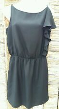 TOPSHOP Ladies Black Frill Shoulder Strappy Dress Size 10