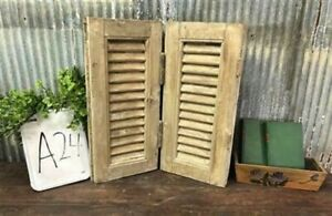 Small Antique Farmhouse Shutter, Natural Wood Shutter Architectural Salvage A24,