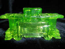Green Vaseline glass train Caboose box car uranium yellow canary railroad RR art