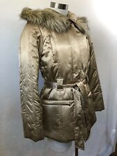 NWT Kenneth Cole Women's Sz XS Hood Satin Coat With Belt Color Soft Camel