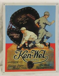 "KEN-WEL BRAND TIN BASEBALL GLOVE SIGN Lou Gehrig Model 12 x 15"""