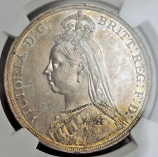 """1887, Great Britain, Queen Victoria. Silver """"Jubilee Bust"""" Crown. NGC MS-61!"""