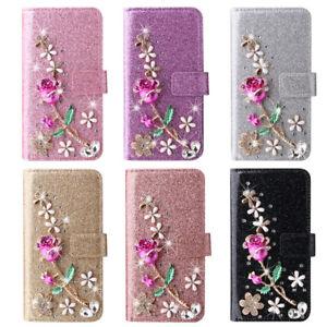 Bling Rose Flower Flip Wallet Phone Case For iPhone 12 Pro Max 11 XR 5 6 7 8 SE