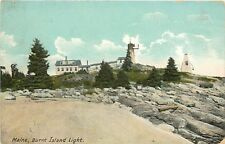 c1910 Postcard Burnt Island Light House Boothbay Harbor ME Lincoln County posted