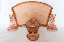 Art Deco Pink Glass 5 Piece Dressing Table Set by Samuel Reich