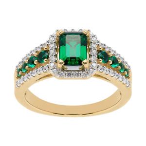 3Ct Emerald Cut Green Emerald Halo Women's Engagement Ring 14K Rose Gold Finish