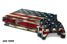 Xbox One X Console Skin with 2 Controller Decals Battle TORN USA flag strong US